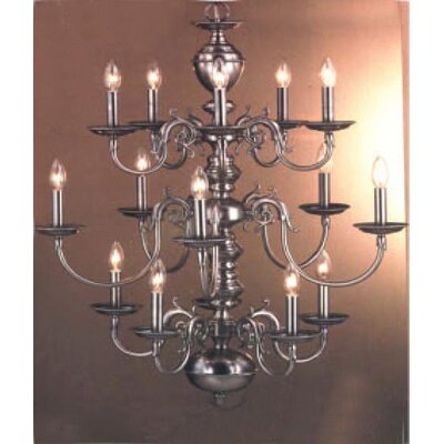 Williamsburg 15-Light Candle-Style Chandelier Finish: 24k Gold Plate