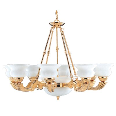 Barrington 12-Light Shaded Chandelier Finish: Gold