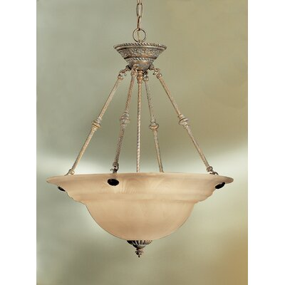 Yorkshire 6-Light Bowl Pendant Base Finish: English Bronze, Shade Color: White Alabaster Glass