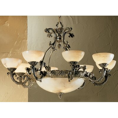Alexandria I 12-Light Shaded Chandelier Finish: Victorian Bronze, Crystal Type: Swarovski Elements