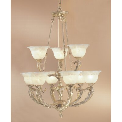 Victorian II 9-Light Shaded Chandelier Finish: Satin Bronze with Brown Patina, Crystal Type: Without Crystal