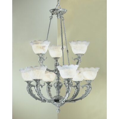 Victorian I 9-Light Shaded Chandelier Crystal Type: Crystalique, Finish: Satin Bronze with Brown Patina