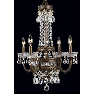 Contessa 4-Light Crystal Chandelier Finish: English Bronze with Gold