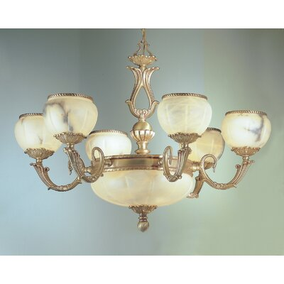 Alexandria I 9-Light Shaded Chandelier Crystal Type: Swarovski Elements, Finish: Victorian Bronze