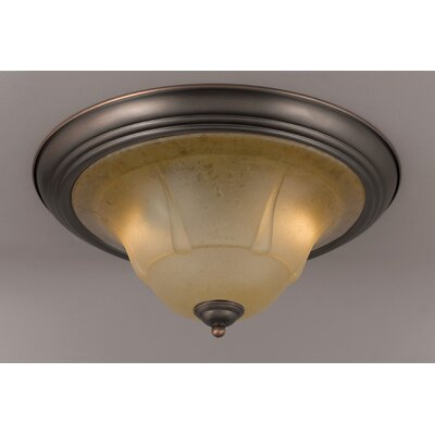 Providence 2-Light Semi-Flush Mount Finish: Rustic Bronze, Crystal Type: Tuscan Cream