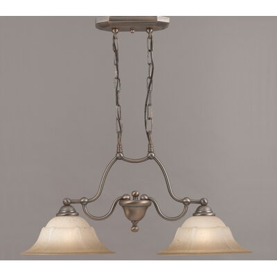 Providence 2-Light Kitchen Island Pendant Glass Color: White Alabaster, Finish: Rustic Bronze