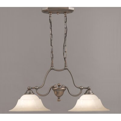Providence 2-Light Kitchen Island Pendant Finish: Antique Copper, Glass Color: White Alabaster