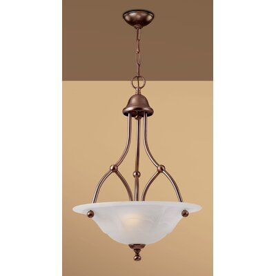 Providence 3-Light Bowl Pendant Glass Color: White Alabaster, Finish: Rustic Bronze