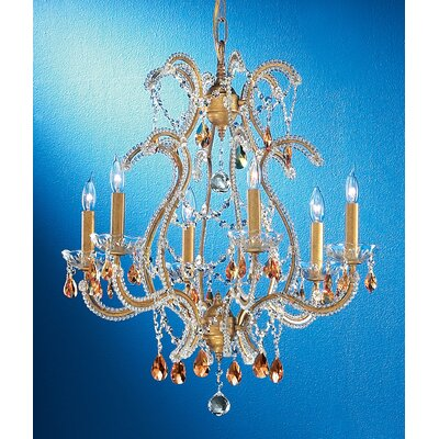 Aurora 6-Light Crystal Chandelier Crystal Type: Prisms Rose, Finish: Olde Gold