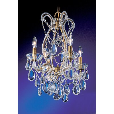 Tivoli 4-Light Crystal Chandelier Finish: Olde Gold