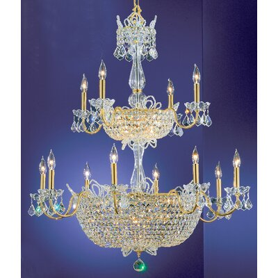 Crown Jewels 32-Light Crystal Chandelier Crystal Type: Crystalique-Plus, Finish: Gold Plated