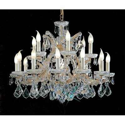 Maria Thersea 16-Light Crystal Chandelier Crystal Type: Swarovski Elements, Finish: Olde World Gold