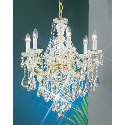Maria Thersea 6-Light Crystal Chandelier Crystal Type: Swarovski Elements, Finish: Olde World Gold