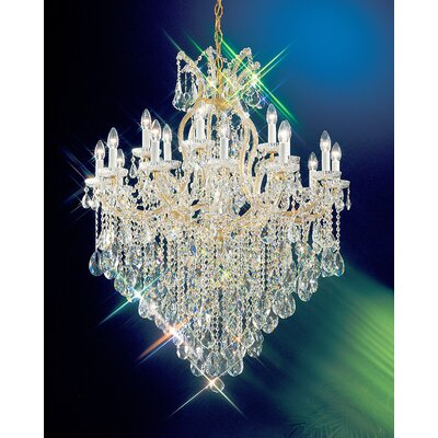 Maria Thersea 19-Light Crystal Chandelier Crystal Type: Swarovski Spectra, Finish: Olde World Gold