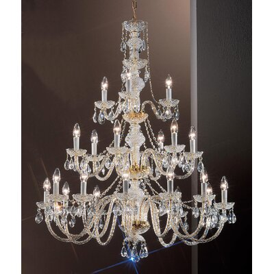 Monticello 21-Light Crystal Chandelier Finish: Gold Plated
