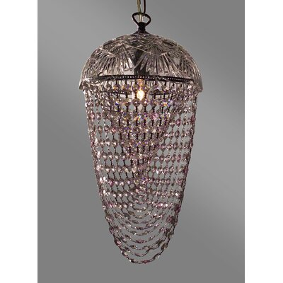 Prague Color 1-Light Bowl Pendant Crystal Type: Crystalique Clear & Pink