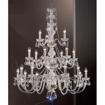 Monticello 21-Light Crystal Chandelier Finish: Chrome