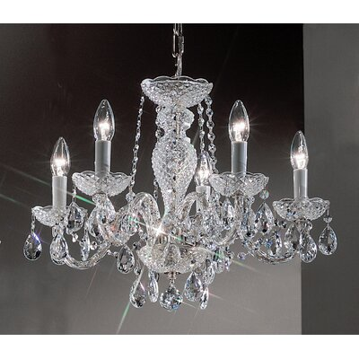 Monticello 5-Light Crystal Chandelier Finish: Chrome