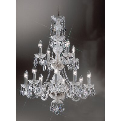 Monticello 12-Light Crystal Chandelier Finish: Chrome