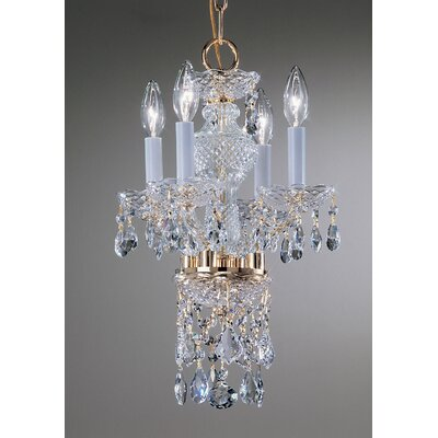Monticello 4-Light Crystal Chandelier Crystal Trim: Crystalique, Finish: Gold Plated
