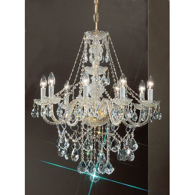 Monticello 8-Light Crystal Chandelier Finish: Gold Plated, Crystal Trim: Crystalique
