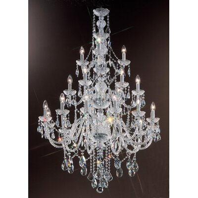 Monticello 21-Light Crystal Chandelier Crystal Trim: Swarovski Elements, Finish: Gold Plated