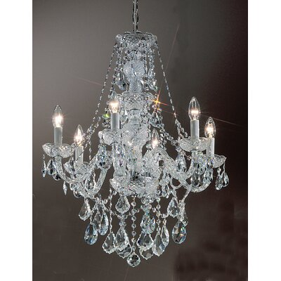 Monticello 6-Light Crystal Chandelier Finish: Gold Plated, Crystal Trim: Crystalique