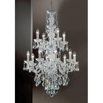 Monticello 12-Light Crystal Chandelier Finish: Gold Plated, Crystal Trim: Crystalique