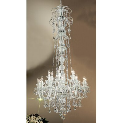 Bohemia 18-Light Crystal Chandelier Size: 65 H x 38 W x 38 D, Finish: 24K Gold Plate, Crystal Type: Swarovski Spectra