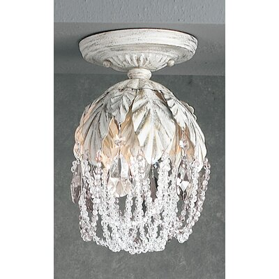 Petite Fleur 1-Light Semi-Flush Mount Finish: Antique White, Crystal Type: Prisms Rose