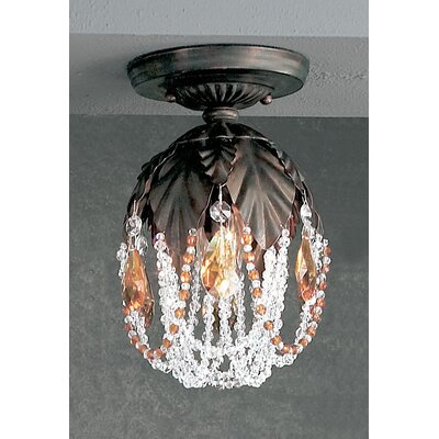 Petite Fleur 1-Light Semi-Flush Mount Finish: English Bronze, Crystal Type: Prisms Amber