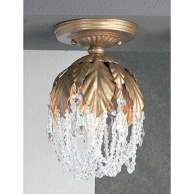 Petite Fleur 1-Light Semi-Flush Mount Crystal Type: Prisms Amber, Finish: Olde Gold