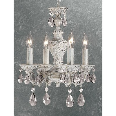 Gabrielle 4-Light Crystal Chandelier Finish: Antique White, Crystal Type: Crystalique