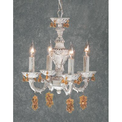 Gabrielle 4-Light Crystal Chandelier Crystal Type: Grape Cluster Amber, Finish: English Bronze