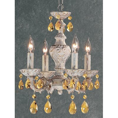 Gabrielle 4-Light Crystal Chandelier Finish: Antique White, Crystal Type: Prisms Amber