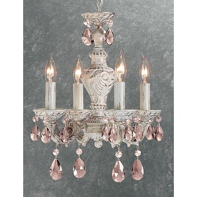 Gabrielle 4-Light Crystal Chandelier Finish: Antique White, Crystal Type: Prisms Amethyst