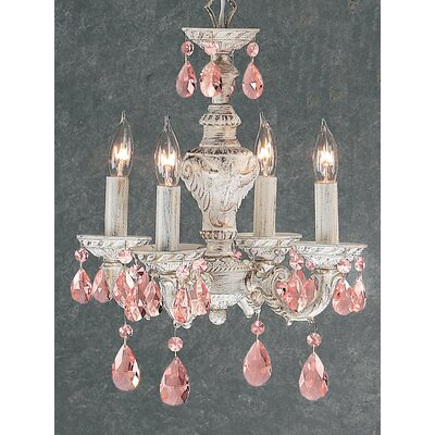 Gabrielle 4-Light Crystal Chandelier Finish: Antique White, Crystal Type: Prisms Rose