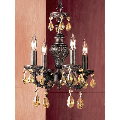 Gabrielle 4-Light Crystal Chandelier Finish: English Bronze, Crystal Type: Prisms Amber