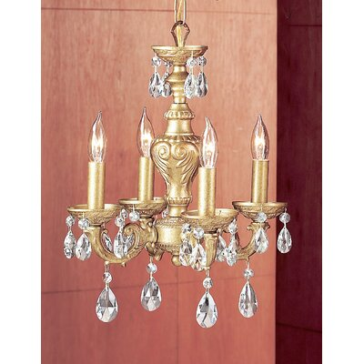 Gabrielle 4-Light Crystal Chandelier Finish: Olde Gold, Crystal Type: Crystalique