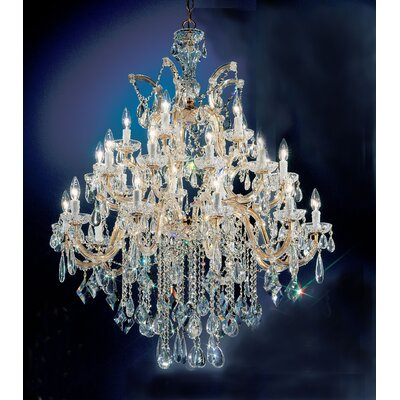 Rialto 25-Light Crystal Chandelier Finish: Gold Plated