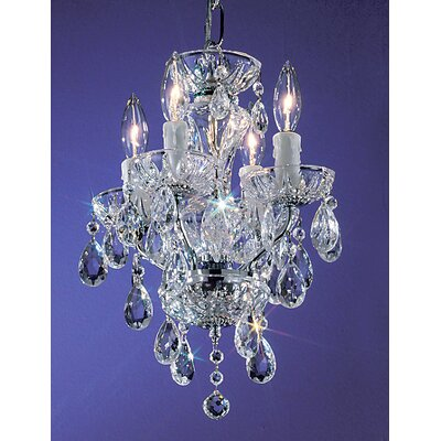 Daniele 4-Light Crystal Chandelier Finish: English Bronze