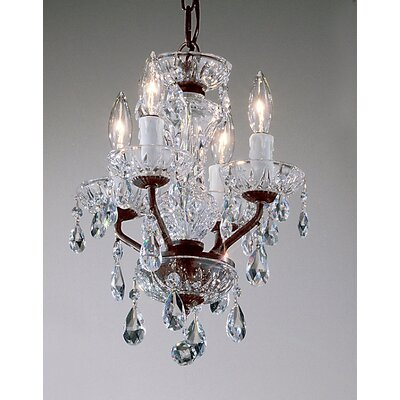 Daniele 4-Light Crystal Chandelier Crystal Type: Crystalique, Finish: Gold Plated