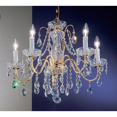 Letitia 5-Light Chain Shaded Crystal Chandelier Finish: Gold Plated, Crystal Type: Swarovski Spectra