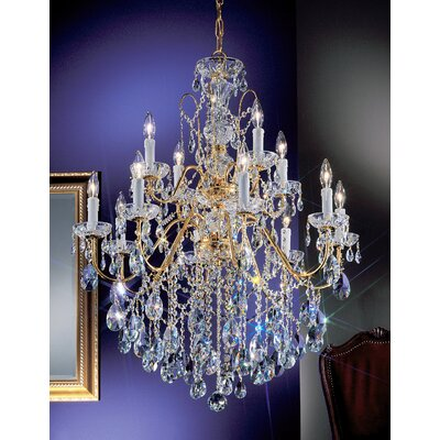 Daniele 12-Light Crystal Chandelier Crystal Type: Swarovski Elements, Finish: Gold Plated