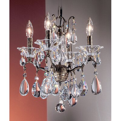 Garden of Versailles 4-Light Crystal Chandelier Finish: Antique Bronze with Gold Patina, Crystal Type: Drops Pink