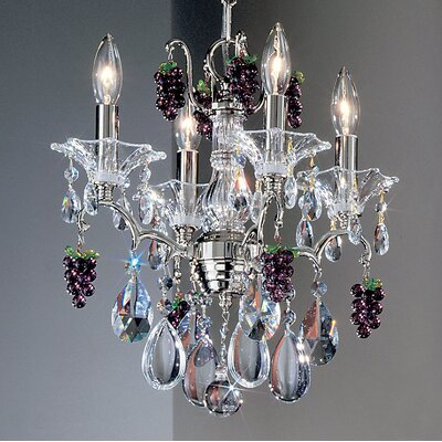 Garden of Versailles 4-Light Crystal Chandelier Crystal Type: Grapes Ametyst, Finish: Chrome
