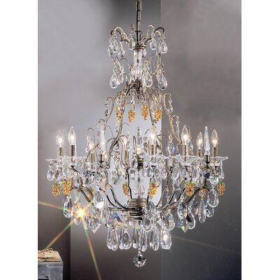 Garden of Versailles 9-Light Crystal Chandelier Finish: Antique Bronze with Gold Patina, Crystal Type: Pears Green