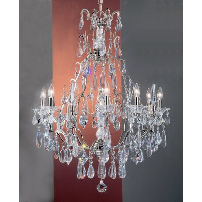 Garden of Versailles 9-Light Crystal Chandelier Finish: Chrome, Crystal Type: Drops Pink