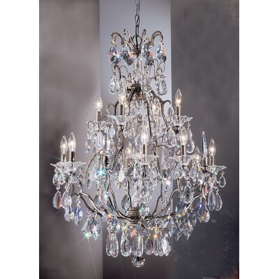 Garden of Versailles 13-Light Crystal Chandelier Finish: Antique Bronze with Gold Patina, Crystal Type: Drops Pink