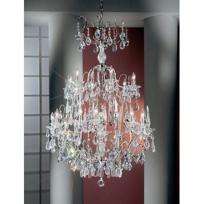 Garden of Versailles 19-Light Crystal Chandelier Finish: Chrome, Crystal Type: Drops Pink
